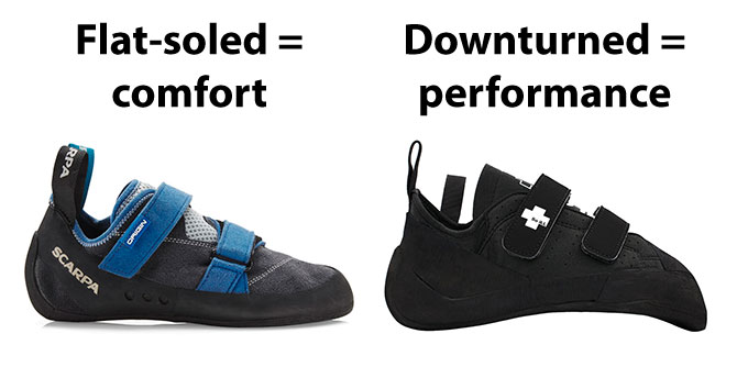 Flat-soled vs Downturned climbing shoes - 5 Questions to Ask Yourself Before Buying Climbing Shoes - Athlete Audit