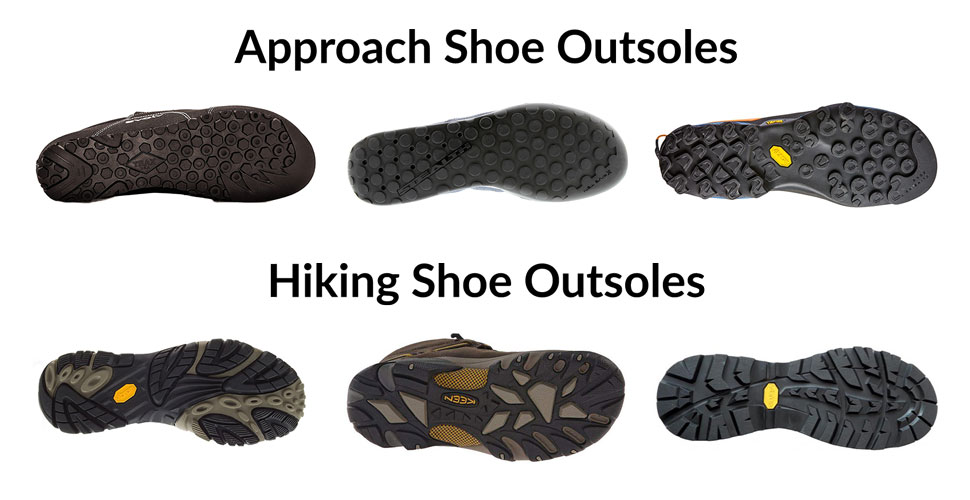 Approach Shoe vs Hiking Shoe Outsole - What Are Approach Shoes - Athlete Audit